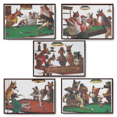 Комплект зеркальных панно Dogs 49х35см 5 шт