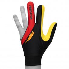 Перчатка для бильярда Predator'sHunter Velcro Multicolor черная/красная/желтая безразмерная