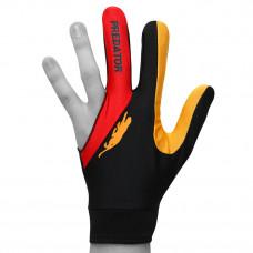 Перчатка для бильярда Predator'sHunter Velcro Multicolor черная/красная/оранжевая безразмерная