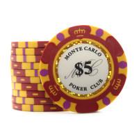 Фишки для покера Monte Carlo 5 красные 40 мм 13 г 25 шт